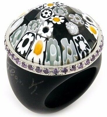 Alan K Murano Grand Collection Faceted Black Round Glass Ring Purple Cz Ring
