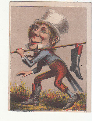 Hobo Carrying Boot on Stick White Top Hat No Advertising Vict Card c1880s