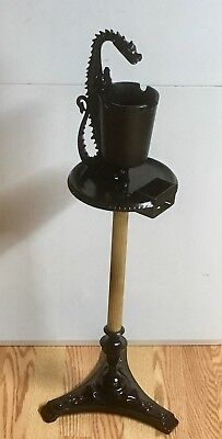 VINTAGE ANTIQUE Cast Iron DRAGON Floor Cigar Stand Ashtray SCROLL ART MFG. CO.