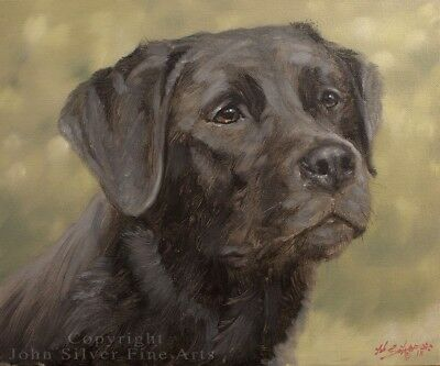 BLACK LABRADOR DOG ORIGINAL OIL PAINTING by Award Winning Artist JOHN SILVER. BA
