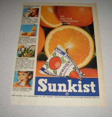 1969 orig. Reklame Werbung Sunkist Dreiecks-Pack Orange