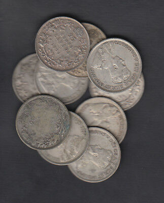 1911-36 Canada 25 Cents Silver Coin Lot Of 10