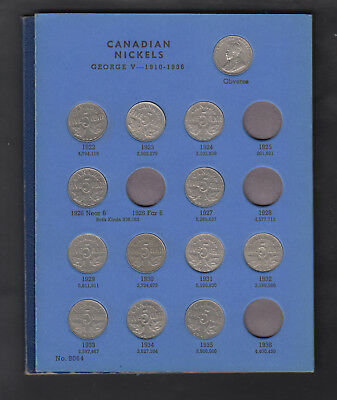 1922-60 Canada Nickels Coin Colletion Of 42 In Album
