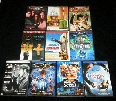 Lot of 10 DVDs Comedy Drama Action Sherlock Holmes Mr Bean McPhee Wild Things