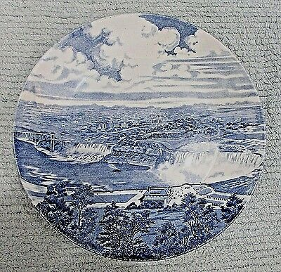 Old J G Meakin England Pottery Niagara Falls Hand Engraved Blue Plate FREE SH