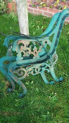 Pair of lion head wrought iron bench ends vintage