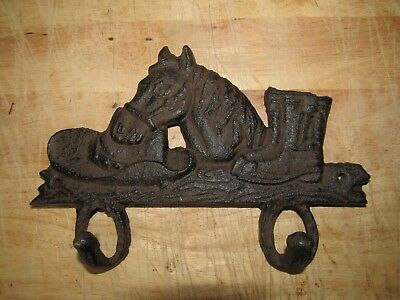 Cowboy Hat Horse Head & Boots Cast Iron Coat or Key Hook Western Decor Rustic