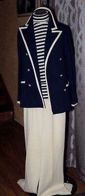Vintage Butte Knit 3 PC Suit 1970's Navy Ivory size 10