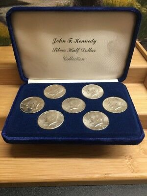 Set of all 1964 - 1970 Silver Kennedy Half Dollars in Case-- 7 SILVER COINS! NR