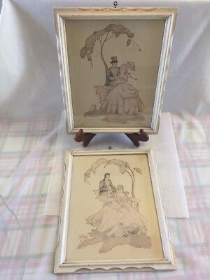 "Pair Of Vintage Shabby Naturally Distressed 9""X11"" Wood Frames - Victorian Print"