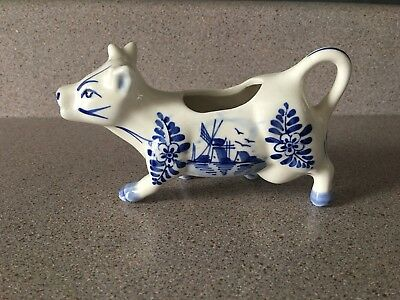 Vintage MB Daniels Blue & White Cow Creamer + Tail Handle Windmill Foral Pattern