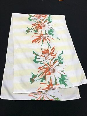 Vintage White With Coral Flowers & Yellow Stripes Table Runner Or Dresser Scarf