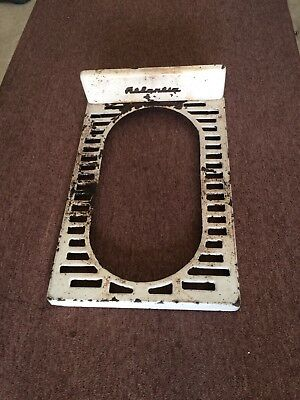 Vintage Atlantic White Porcelain Cast Iron Wood Coal Stove Name Plate Cover #120