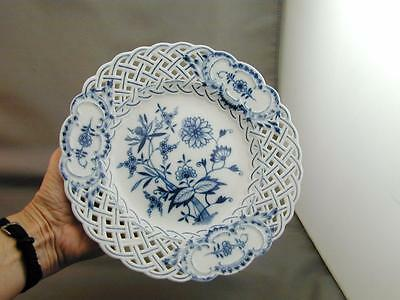 Meissen Crossed Swords Blue Onion Reticulated Plate 8""
