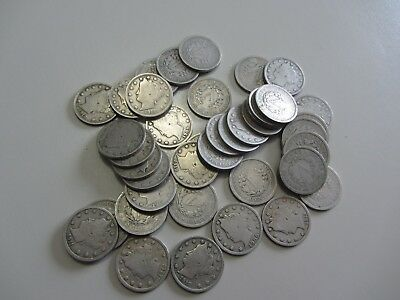 Roll Lot Of 40 Liberty Nickels Vg Very Good On Average