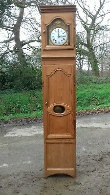 Early 20Thc French Antique Longcase Pitch Pine Clock From Besnard Chateaulin