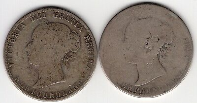 Lot Of 2 Newfoundland Canada Fifty 50 Cent Victoria Silver Half Dollar Coins