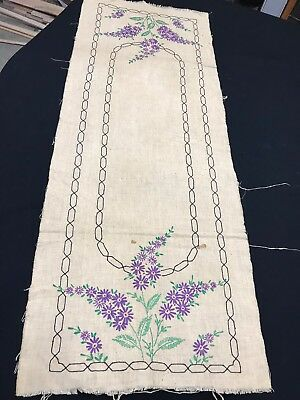 Vintage Linen Table Runner Hand Embroidery Purple Hiacynths & Unfinished Edge
