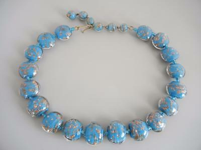 "Vintage 18"" Necklace Venetian Blue Aventurine Glass Disc Beads Murano"