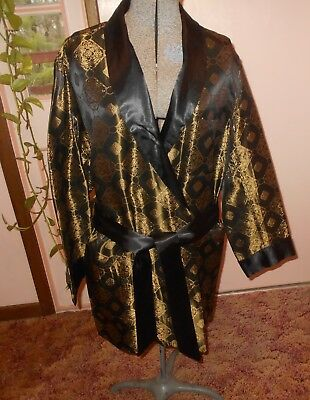 GREAT VINTAGE MEN'S BLACK & GOLD SMOKING JACKET ROBE Sears SIZE MEDIUM