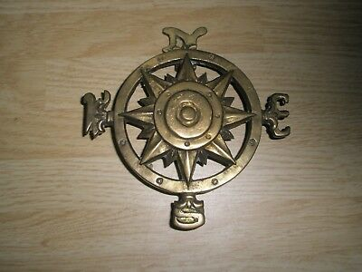 Vintage Brass Compass Door Knocker N S E W