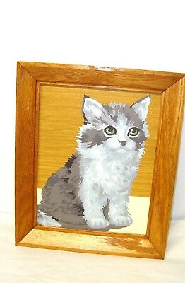 Vintage Framed 10 X 8 Paint By Number Picture Of A Kitten