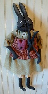 Primitive Grungy Mamma Bunny Rabbit Doll with Her Baby Bunny & Heart