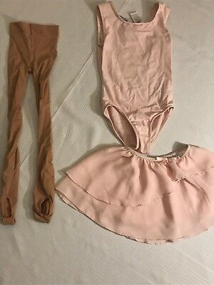 Danskin leotard and skirt size 6/6x with capezio transition tights size 8-12