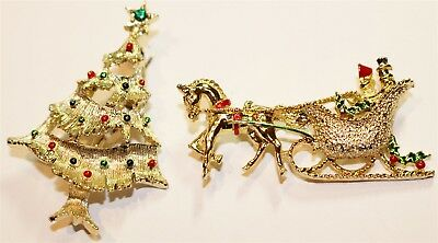 Vintage in Seattle Auction Lot926 lot of two GERRYS signed Christmas brooch pins