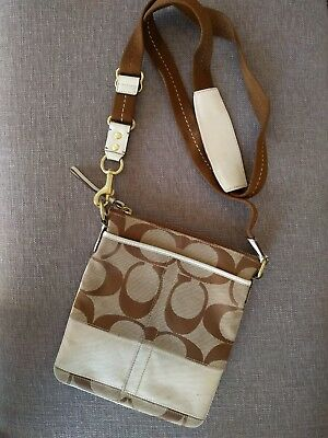 Coach Brown and Cream Logo Crossbody Bag Leather Accents