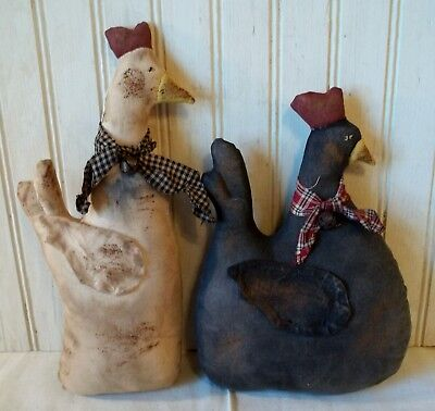 Primitive Grungy Set of 2 Whimsical Hens Chicken Dolls