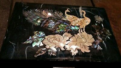 Vintage lacquered inlaid mother of pearl jewelry music box peacocks turtle latch