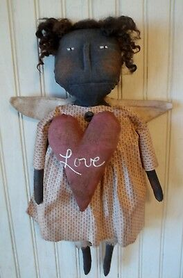 Primitive Grungy Angel of Love Valentine's Day Doll & Her Heart