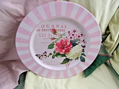 NEW Parisian French shabby n chic metal plate decoration decor pink white roses