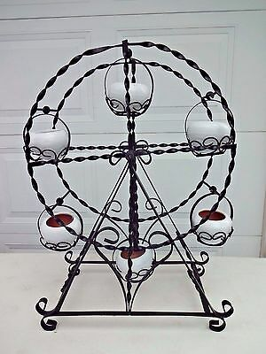 Rare Vintage Black Metal Ferris Wheel Plant Stand with 6 White Ceramic Pots