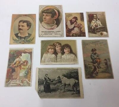 8 Antique 1880's Victorian Trade Cards Wonderful Soap Singer Sewing Machines Etc
