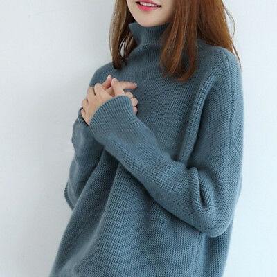 Women 100% Cashmere High-Necked Sweater Long Sleeve Loose Coat Tops S-XL Winter