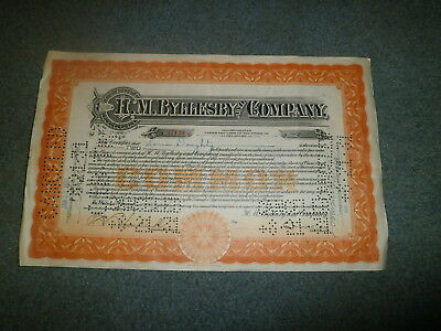 1930 Byllesby Company Stock Certificate W/revenue Stamp