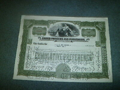 1937 United Printer's And Publishers Stock Certificate