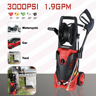 3000PSI 1.9GPM Electric Pressure Washer 5 Nozzles Built-in Soap Tank Hose Reel
