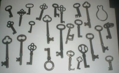 Lot of 24 Genuine Antique Vintage Skeleton Keys (2 Corbin, 1 Domestic) on Ring