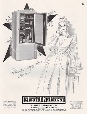1946 Print Ad Le Froid National France Refrigerators Girl Speaking on Phone