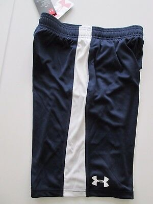 NWT-Under Armour Heat Gear Loose Youth Boys Soccer Short-Midnight Navy XS or S