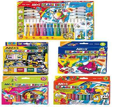 Amos Peelable Glass Art Paint Stain Sets Patterns, Outliners, Sparkle & Confetti
