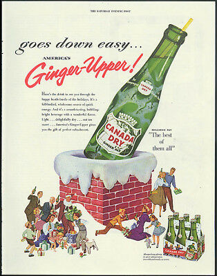 Goes down easy America's Ginger-Upper Canada Dry Ginger Ale chimney ad 1953