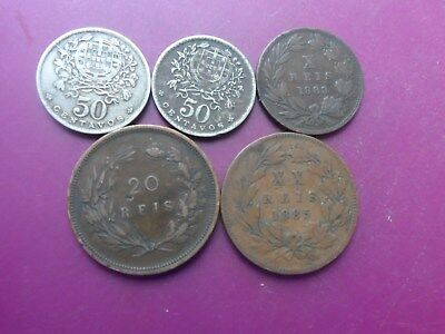 5 Old Coins Of Portugal .1883 -1946. Fine.