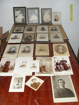 Antique Lot Of 24 - Cabinet Cards Men Women   Mixed Lot