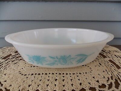 Vintage Glasbake Turquoise Blue Thistle 1 qt Oval Casserole Dish Textured Bottom