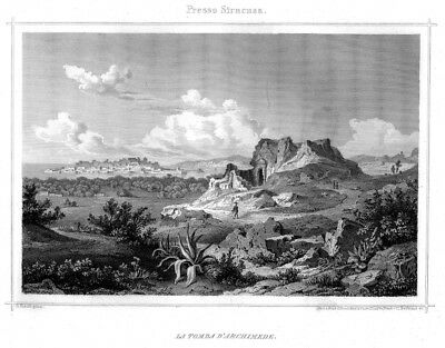 Syrakus, Siracusa, Sizilien mit Grab des Archimedes, Sizilien, Stahlstich 1857