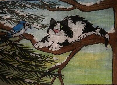 CAT ACEO - Cow Kitty - The Blue Jay Surprise  - by Pryjmak